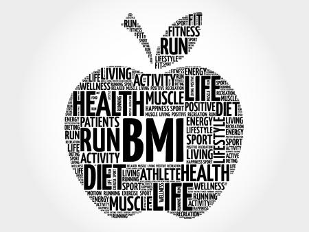 BMI - Body Mass Index, apple word cloud concept Illustration