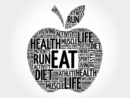 vitamine: EAT apple word cloud concept