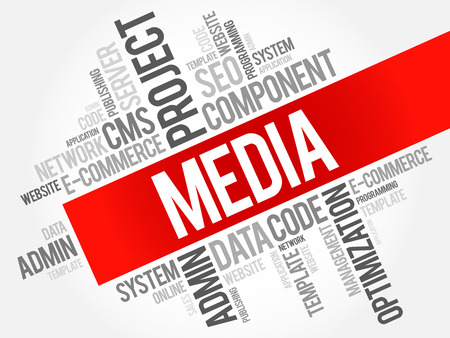 wiki: MEDIA word cloud collage, business concept background