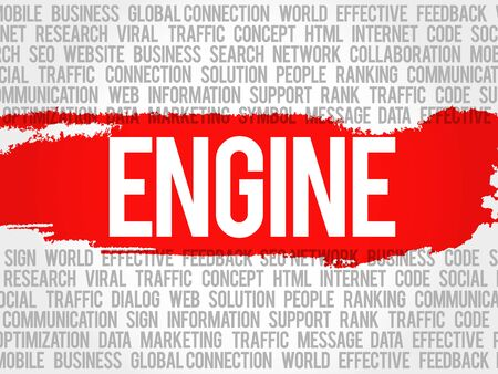 ENGINE word cloud collage, business concept background Illustration