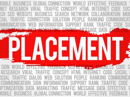 COLOCACIÓN palabra nube collage, fondo del concepto de negocio