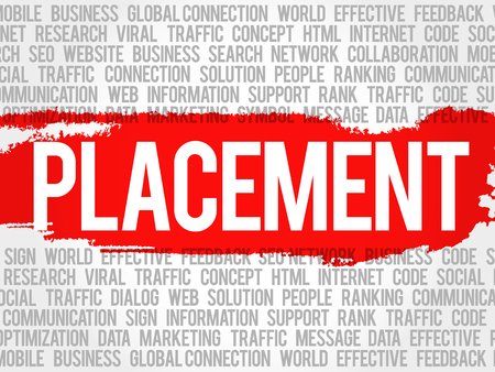 PLACEMENT word cloud collage, business concept background Illustration