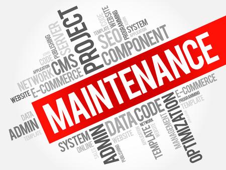 Maintenance word cloud, business concept