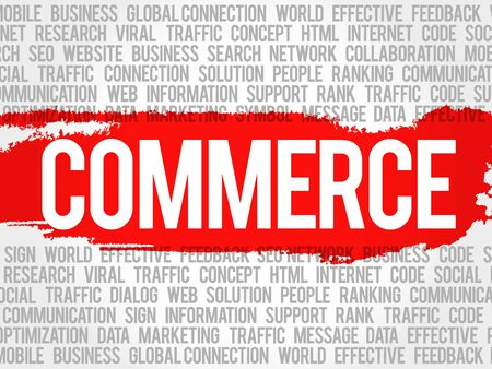 COMMERCE word cloud collage, business concept background