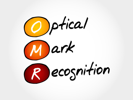 OMR Optical Mark Recognition, acronym business concept Illustration