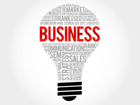 BUSINESS bulb word cloud, business concept 向量圖像