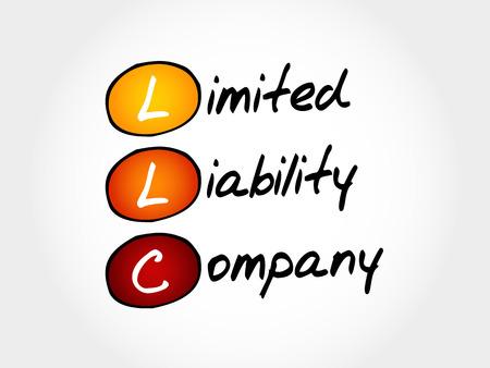 LLC - Gesellschaft mit beschränkter Haftung, Akronym Business-Konzept Vektorgrafik