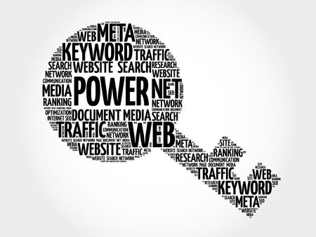 technology collage: POWER Key word cloud, business concept