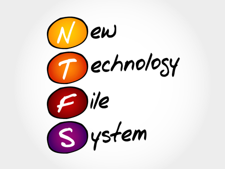 os: NTFS New Technology File System, acronym concept Illustration