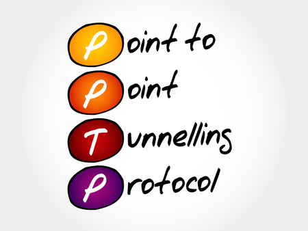PPTP Point to Point Tunnelling Protocol, acronym business concept Illustration