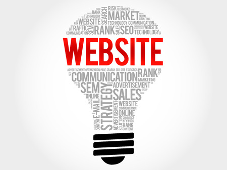 domains: WEBSITE bulb word cloud collage, business concept background