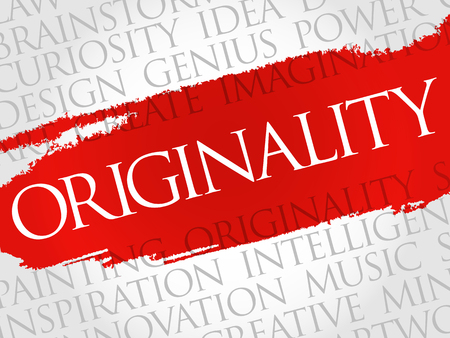 inventiveness: Originality word cloud collage, creative business concept background