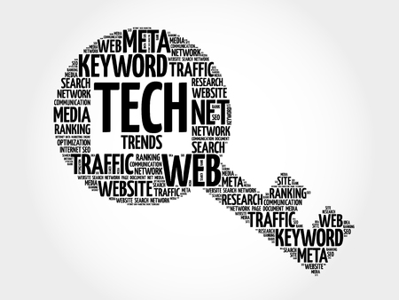 Tech Trends Key word cloud, business concept Illustration