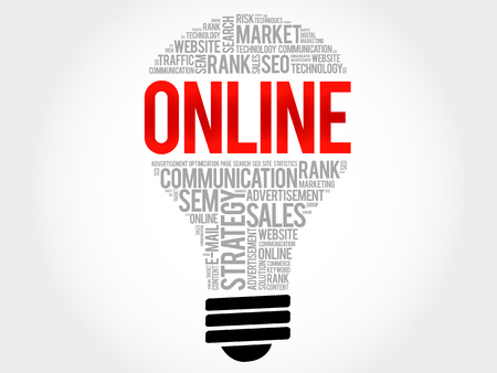 high speed internet: ONLINE bulb word cloud collage, business concept background