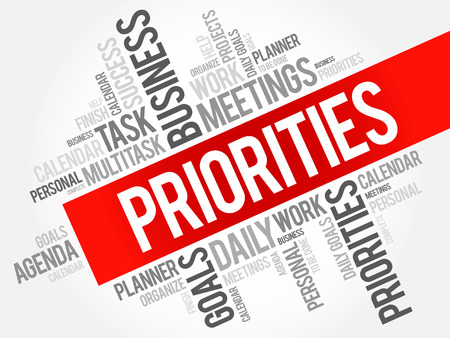 immediate: PRIORITIES word cloud, business concept background Illustration