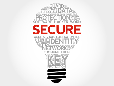 SECURE bulb word cloud collage, business concept background