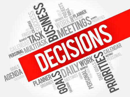 DECISIONS word cloud, business concept Illustration