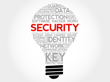 SECURITY bulb word cloud collage, business concept background