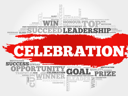 Celebration word cloud, business concept