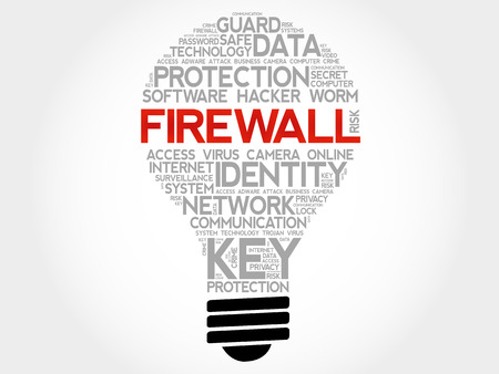trojanhorse: FIREWALL bulb word cloud collage, business concept background