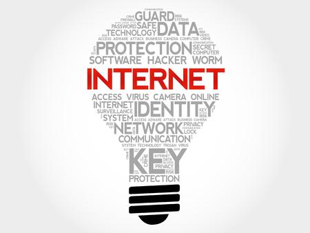 trojanhorse: INTERNET bulb word cloud collage, business concept background Illustration
