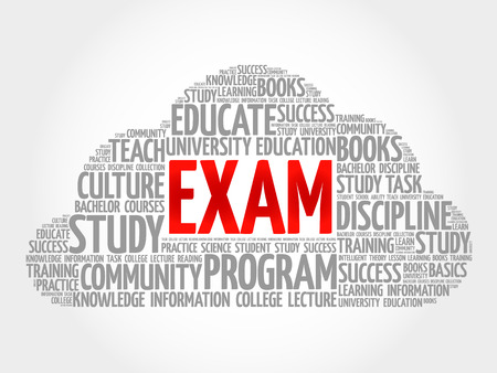 examiner: EXAM word cloud collage, education concept.