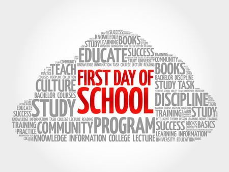 First day of school word cloud collage, education concept background