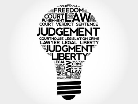 courthouse: Judgement bulb word cloud concept Illustration