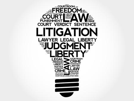 courthouse: Litigation bulb word cloud concept