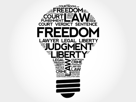 rightness: Freedom bulb word cloud collage, concept background