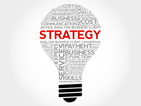 Strategy bulb word cloud, business concept background