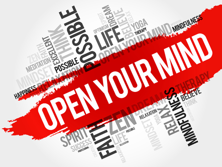 Open your mind word cloud collage, concept background