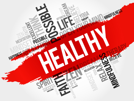 Healthy word cloud collage, concept background Illustration
