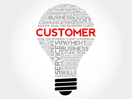 Customer bulb word cloud, business concept background Illustration