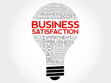 self awareness: Business Satisfaction bulb word cloud, business concept background