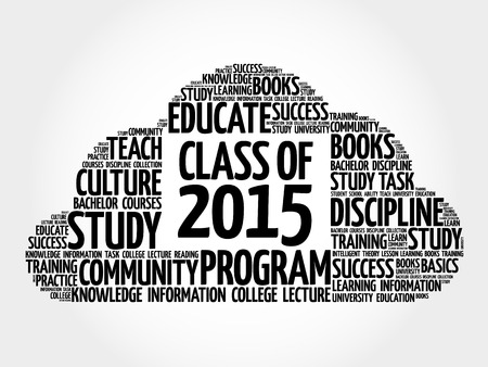 CLASS OF 2015 word cloud collage, education concept background Иллюстрация