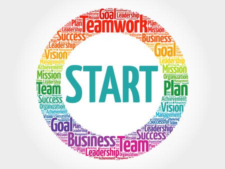 Start circle word cloud, business concept