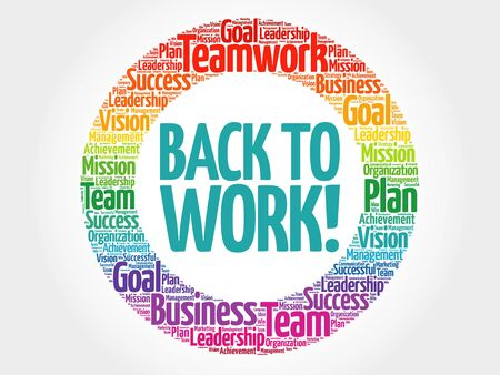 Back to work circle word cloud, business concept