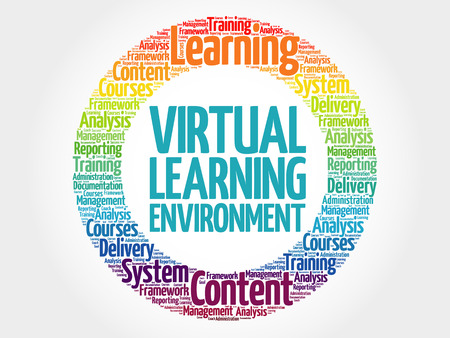 Virtual Learning Environment circle word cloud, business concept Vettoriali