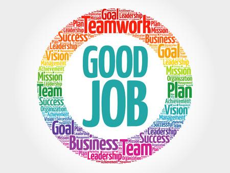 accomplish: Good Job circle word cloud, business concept