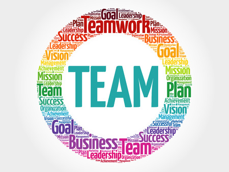 trade union: TEAM circle word cloud, business concept