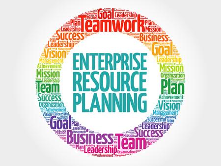 erp: Enterprise Resource Planning circle word cloud, business concept