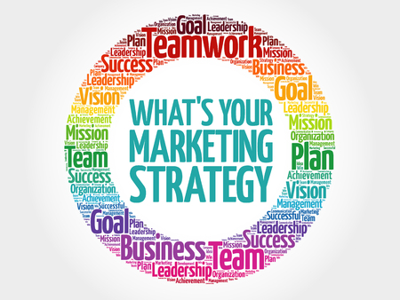 Whats Your Marketing Strategy circle word cloud, business concept