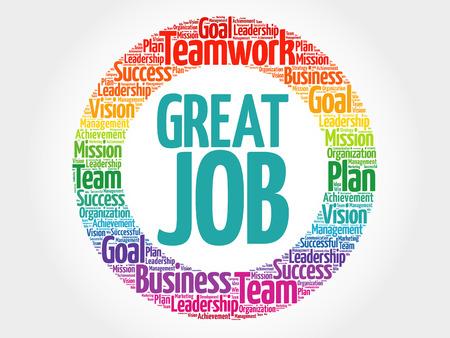 Great Job circle word cloud, business concept