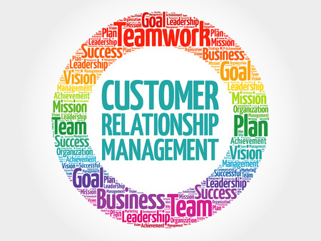 Customer Relationship Management circle word cloud, business concept Illustration