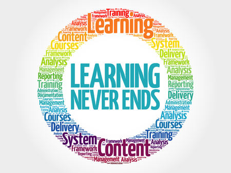 Learning Never Ends circle word cloud, business concept