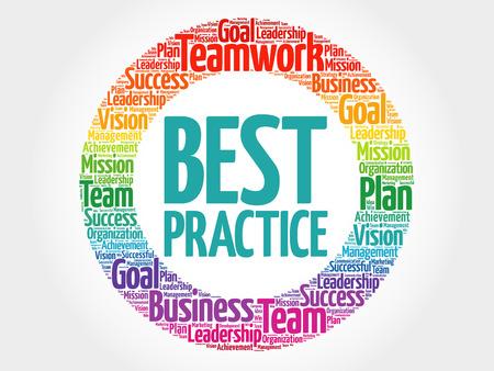Best Practice circle word cloud, business concept Vectores
