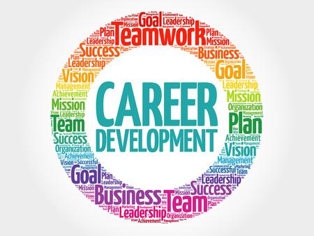 El desarrollo de carrera círculo nube de la palabra, concepto de negocio