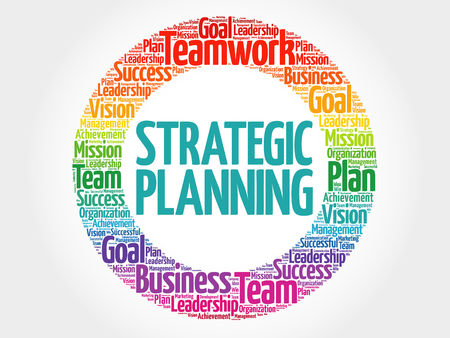 Strategic planning circle word cloud, business concept