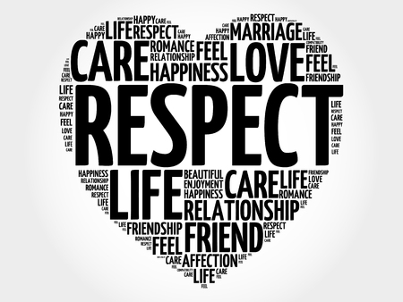 reorganize: Respect word cloud collage, heart concept background